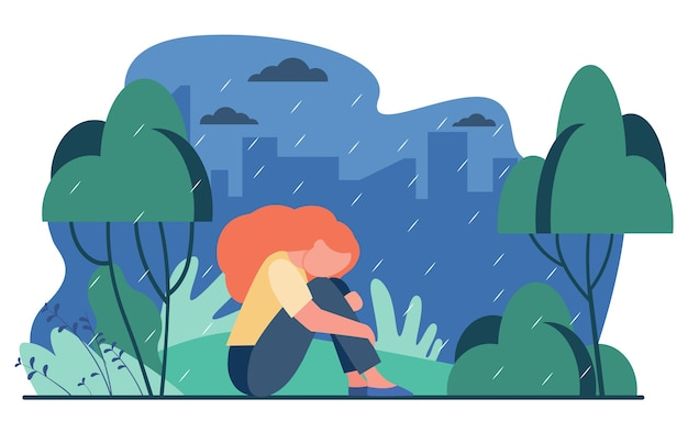 Unhappy girl in rain. sad woman sitting in rainy park outdoors flat vector illustration. depression, stress, loneliness Free Vector