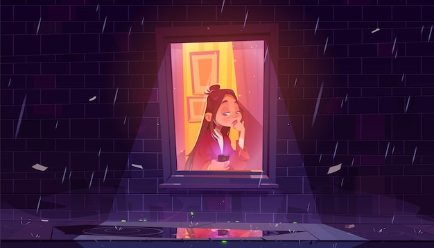 雨の夜に家の窓際のスマートフォンで不幸な孤独な少女。 無料ベクター