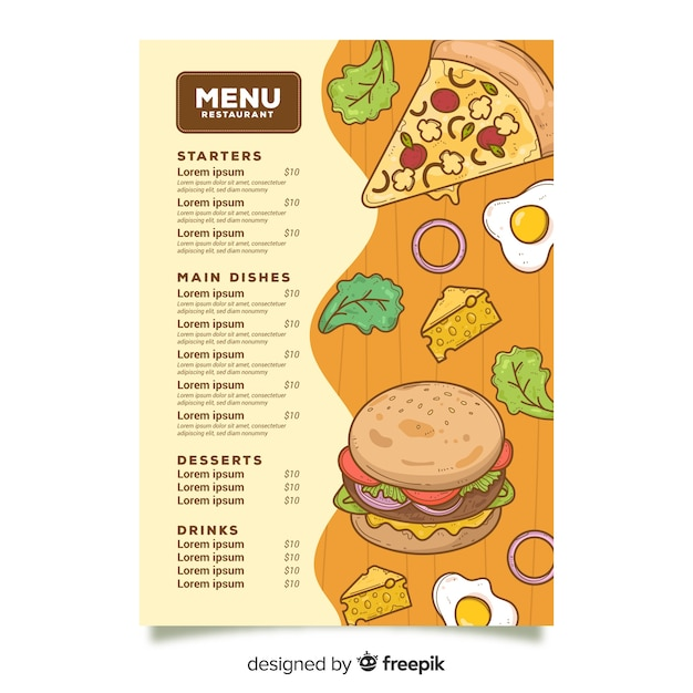Unhealthy fast food menu template Free Vector