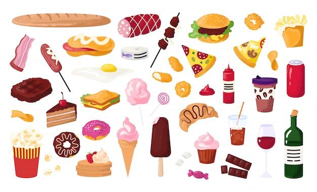 Нездоровая еда для уличных кафе, набор иконок быстрого питания с гамбургером, колбасой, сэндвичем, картофелем фри и пончиком, содовой, иллюстрацией пиццы. нездоровые перекусы. Premium векторы