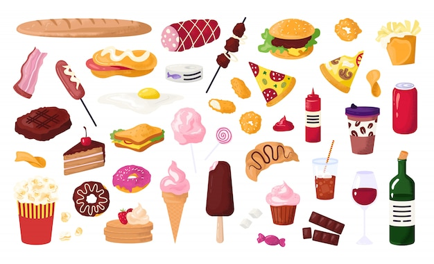 Unhealthy food for street cafe, fast food icons set with hamburger, sausage, sandwich,french fries and donut, soda, pizza   illustration. unhealthy food snacks. Premium Vector