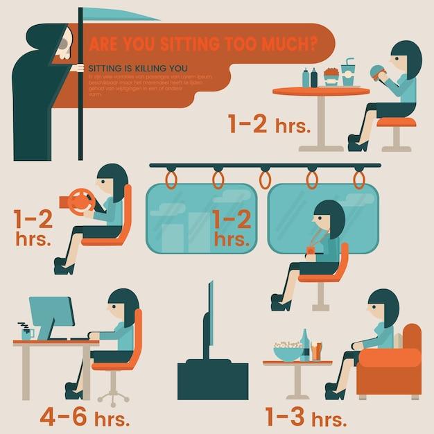 Unhealthy lifestyle concept. sitting risks infographic elements. Premium Vector