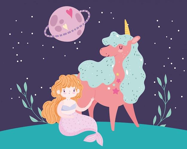Единорог и мермаир принцесса планета небо пейзаж мультфильм Premium векторы