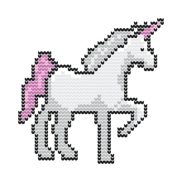 Unicorn animal christmas sweater knitted pixel vector art ...