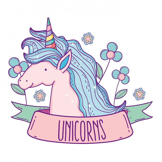 Unicorn animal with hairstyle and flowers plants Premium Vector