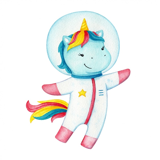 Unicorn astronaut character . happy flying pony wearing a space suit. fantasy horse on cosmic adventure. Premium Vector