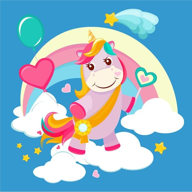 Фон единорога. сказка милая маленькая лошадь, стоящая на фэнтезийной радуге волшебный день рождения векторное изображение для девочек. иллюстрация магии мультфильма единорога, пони со звездой и радугой Premium векторы