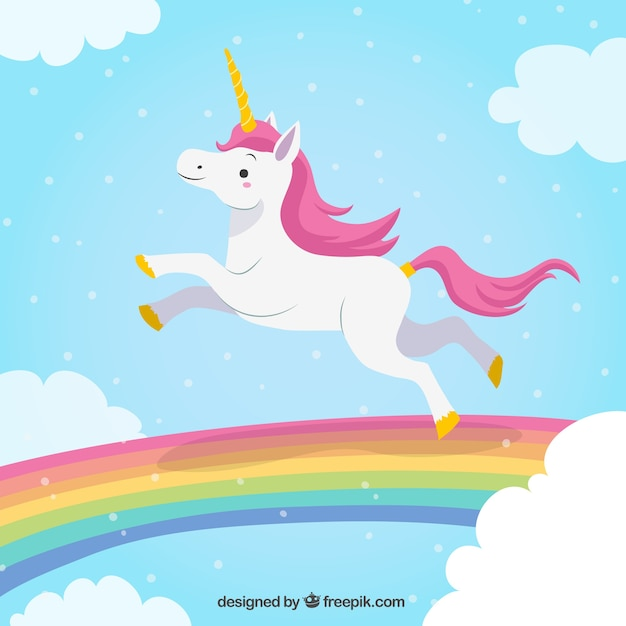 Unicorn Background Jumping In The Rainbow Free Vector