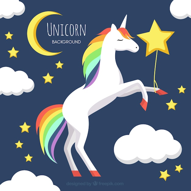 Unicorn background in the sky with moon and stars Premium Vector