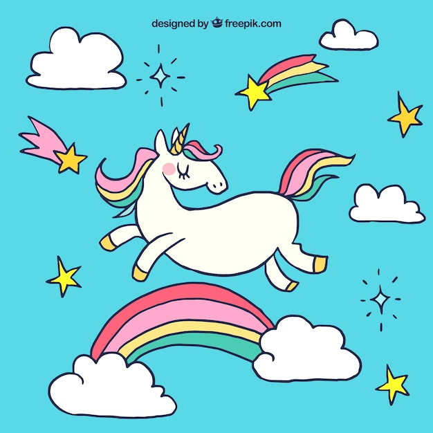 Unicorn background with hand drawn rainbow Free Vector