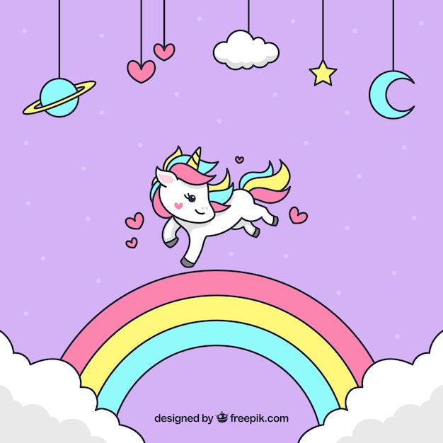 Unicorn background with hand drawn rainbow Premium Vector