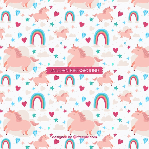 Unicorn background with rainbow and diamonds