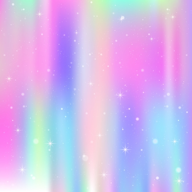 Unicorn background with rainbow mesh. colorful universe in princess colors. fantasy gradient with hologram. Premium Vector
