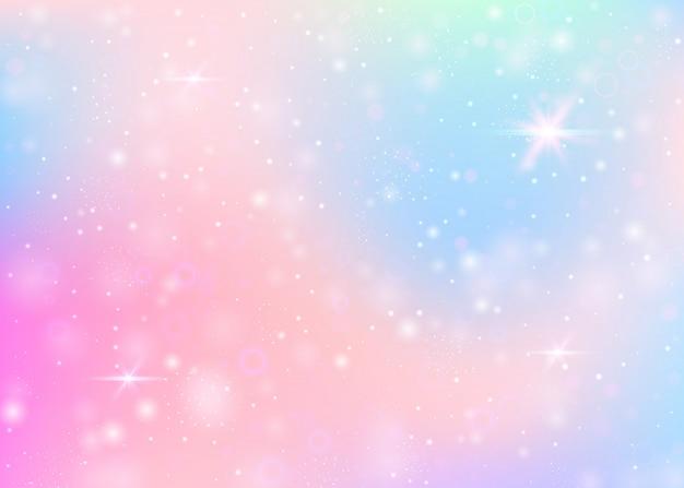 Unicorn background with rainbow mesh. Premium Vector