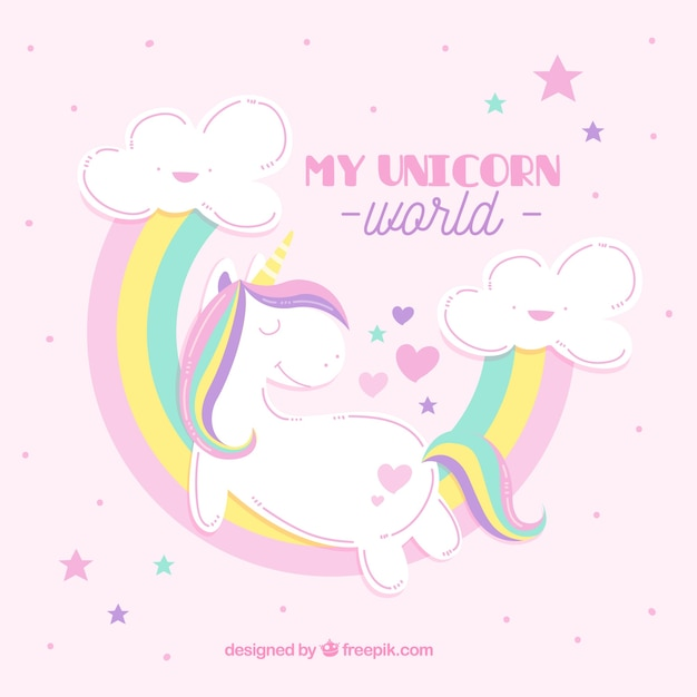 Unicorn background with rainbows in colored pastel Free Vector