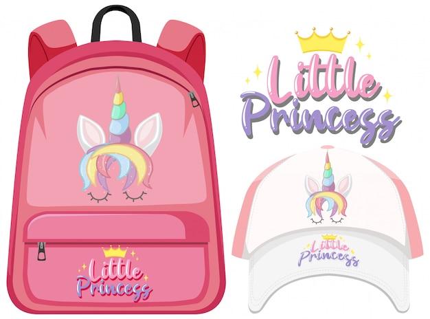 Unicorn backpack and cap Premium Vector