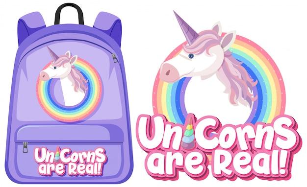 Unicorn backpack on white background Premium Vector