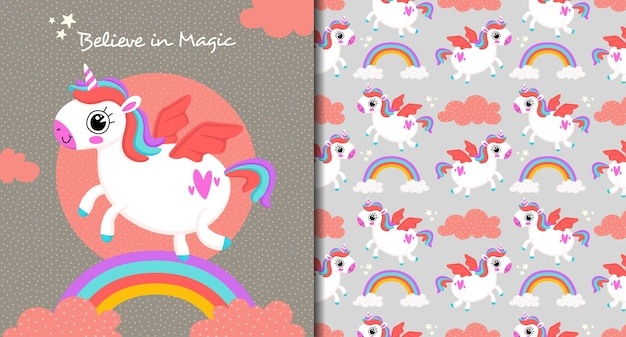 Unicorn believe in magic pattern Premium Vector