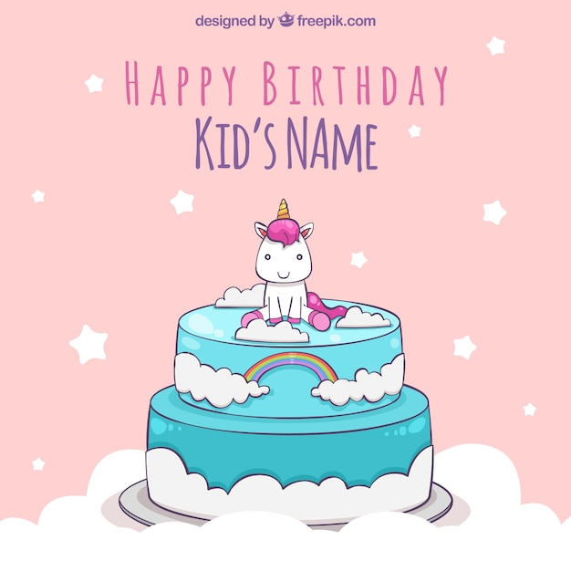 Unicorn birthday background on top of a cake Vector Free Download