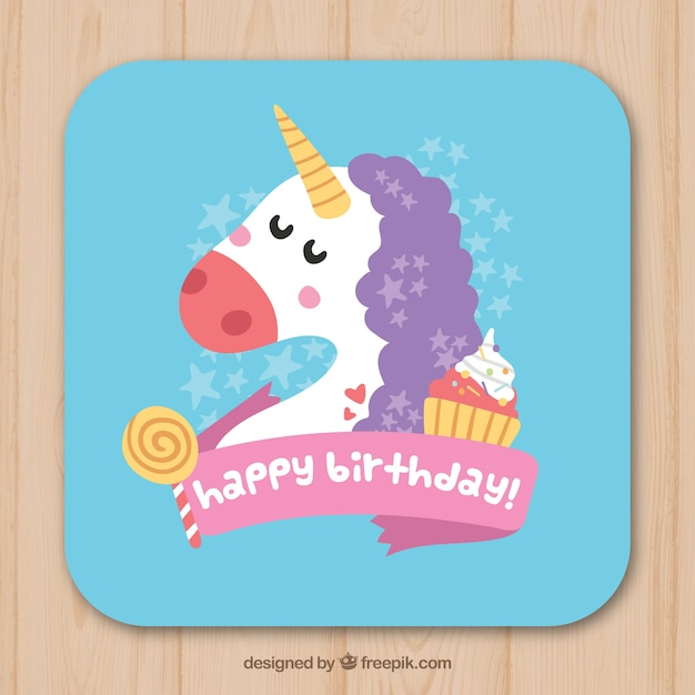 Unicorn birthday card with sweets vector free download unicorn birthday card with sweets free vector bookmarktalkfo Image collections