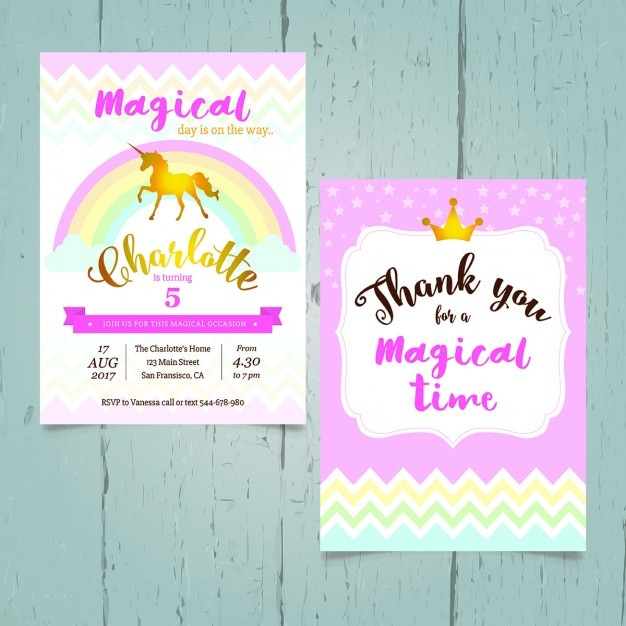 Unicorn birthday invitation vector free download unicorn birthday invitation free vector filmwisefo Images