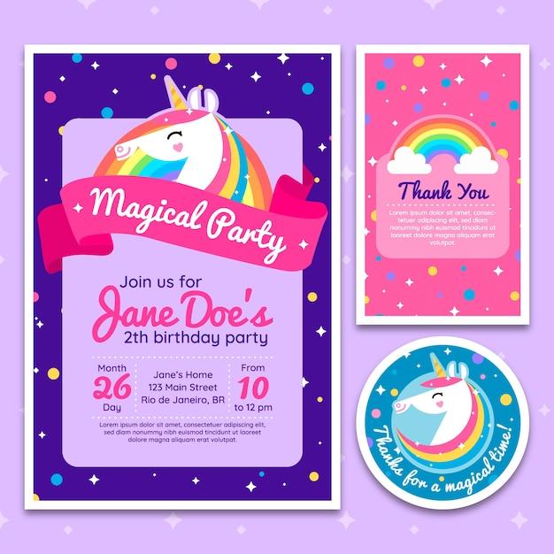 Unicorn birthday party invitation with stars Premium Vector