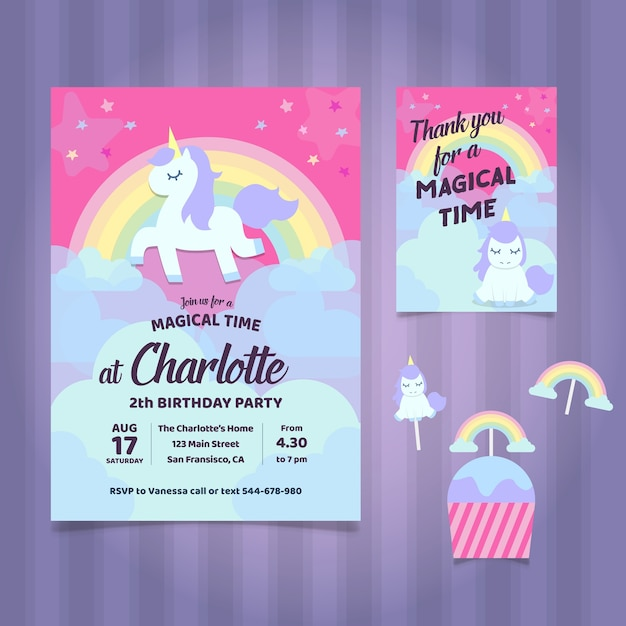 Unicorn birthday party invitation Free Vector