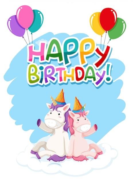 Unicorn on birthday template Free Vector