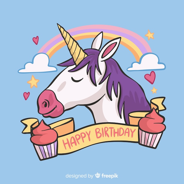 Unicorn birthday Free Vector
