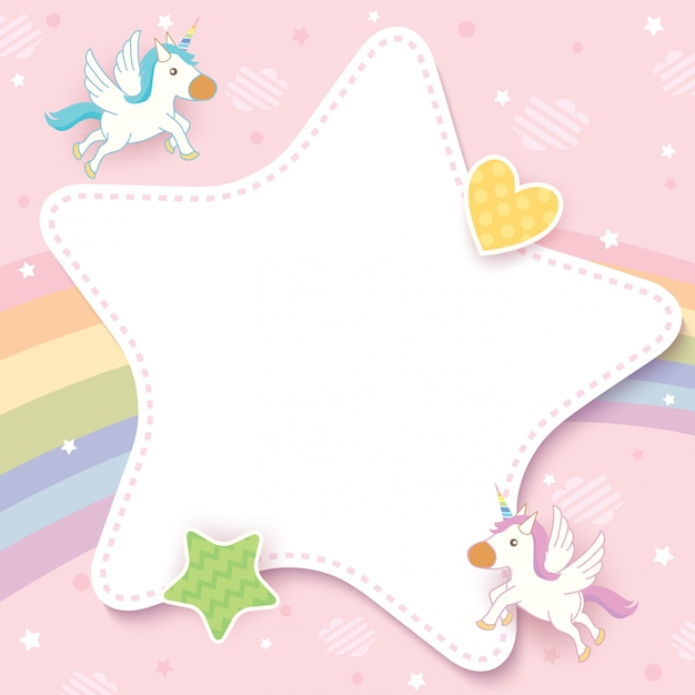 Unicorn card Premium Vector