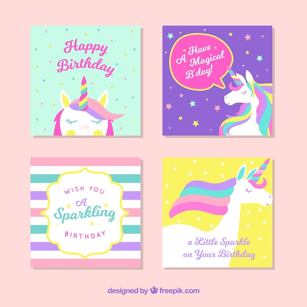 Unicorn cards pack Free Vector
