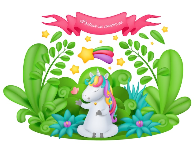 Unicorn cartoon character siting in the magic garden Premium Vector