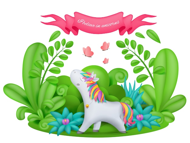 Unicorn cartoon character standing in the magic garden Premium Vector