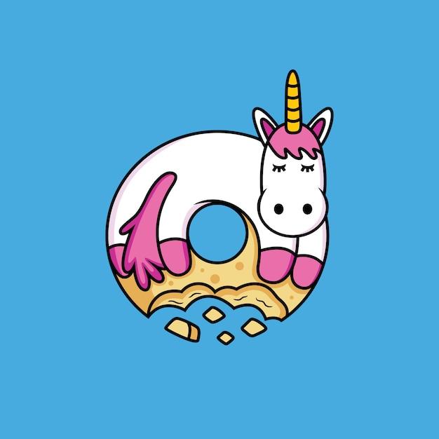 Unicorn cartoon likes donuts Premium Vector