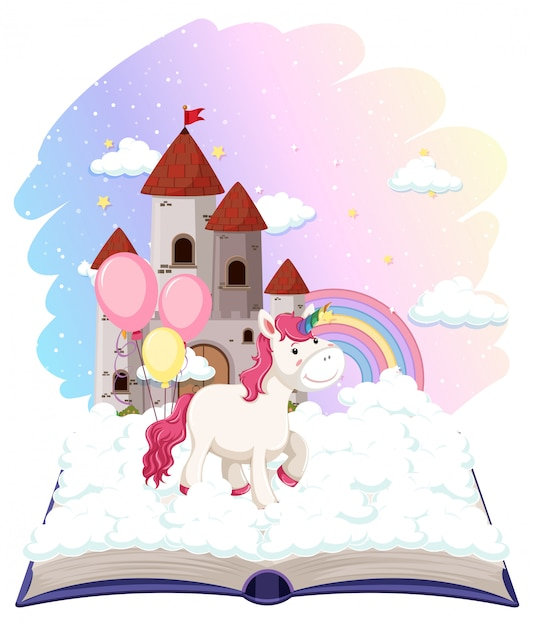 Unicorn castle on open book Free Vector
