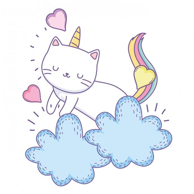 Unicorn cat cartoon Premium Vector