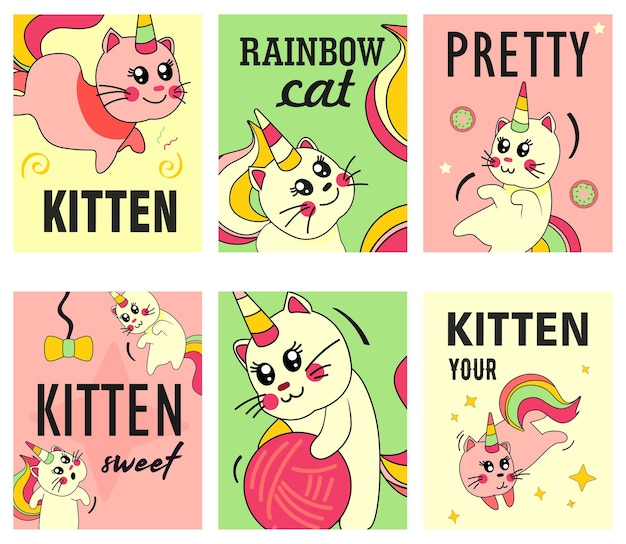 Unicorn cat flyers set. funny cartoon summer baby kitten with rainbow horn and tail  illustrations Free Vector
