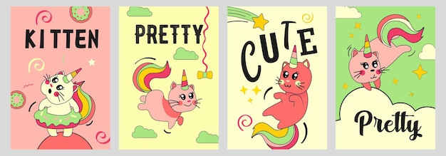 Set di poster di gatto unicorno. gattino del bambino divertente del fumetto con il corno e la coda dell'arcobaleno sulle illustrazioni delle nuvole Vettore gratuito