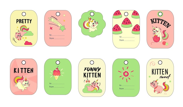Unicorn cat tags set. funny cartoon summer baby kitten with rainbow horn and tail  illustrations. Free Vector