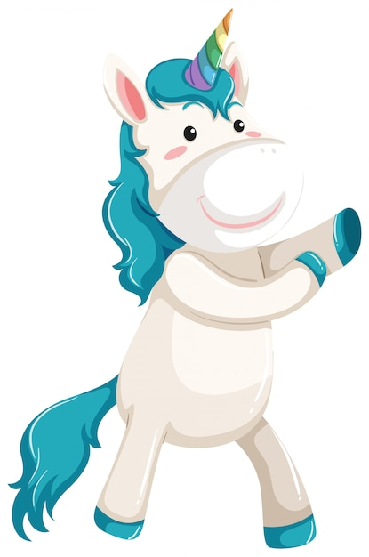 A unicorn character on white background Premium Vector