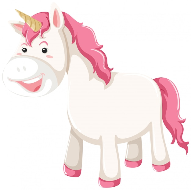 A unicorn character on white background Free Vector