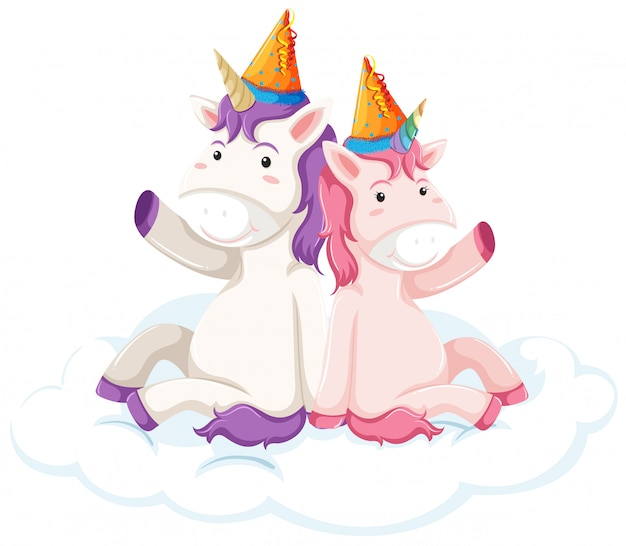 Unicorn character on white background Free Vector