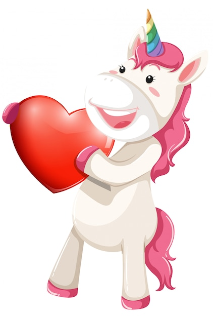Unicorn character with heart Free Vector
