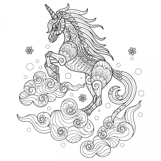 Unicorn on the cloud. hand drawn sketch illustration for adult coloring book Premium Vector