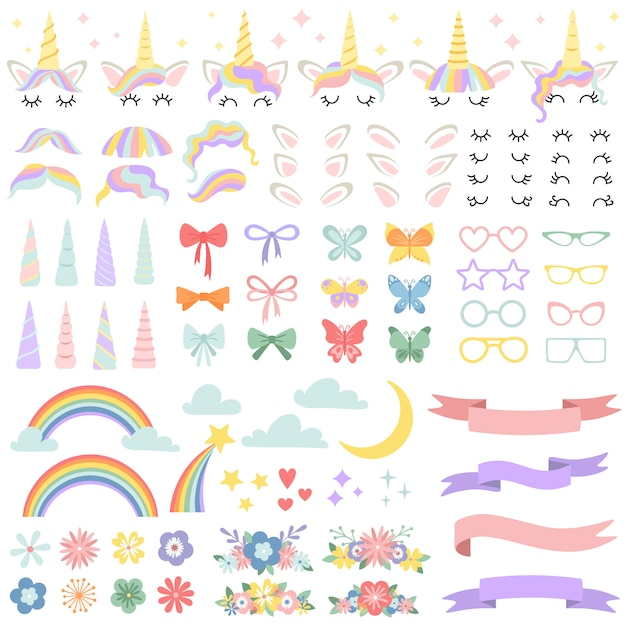 Unicorn constructor. pony mane styling bundle, unicorns horn and party star glasses. flowers, magic rainbow and head bows vector set Premium Vector