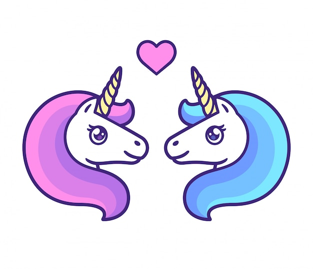 Unicorn couple Premium Vector