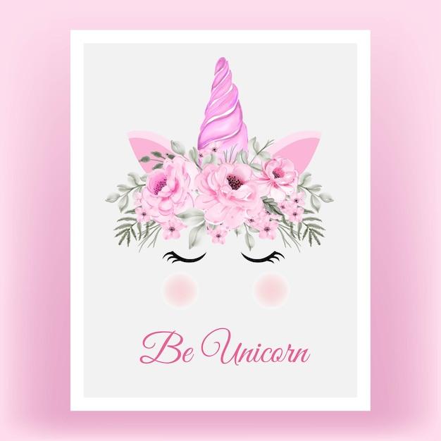 Corona di unicorno acquerello fiore rosa peonia rosa Vettore gratuito
