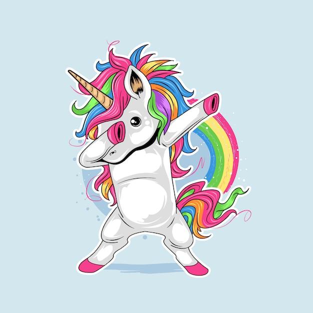 Unicorn cute dabbing style dance rainbow colorfull Premiumベクター