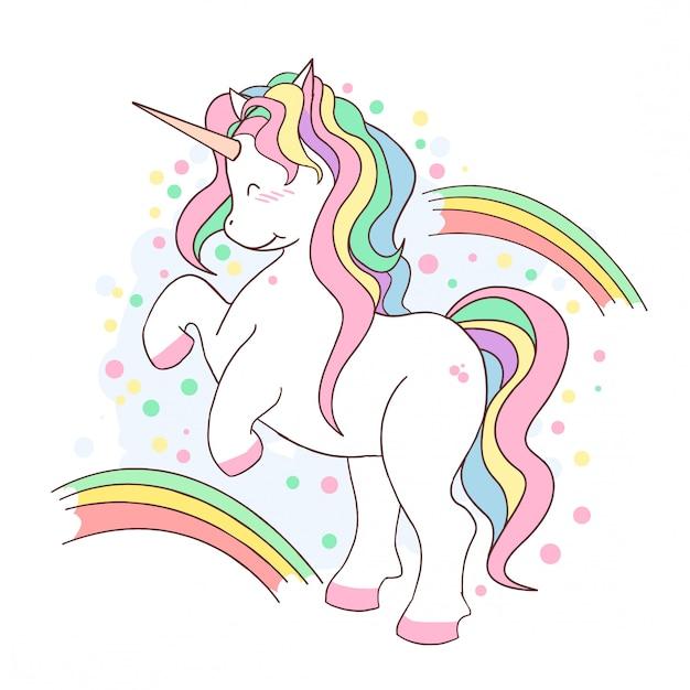 Unicorn cute rainbow fullcolor Premium Vector