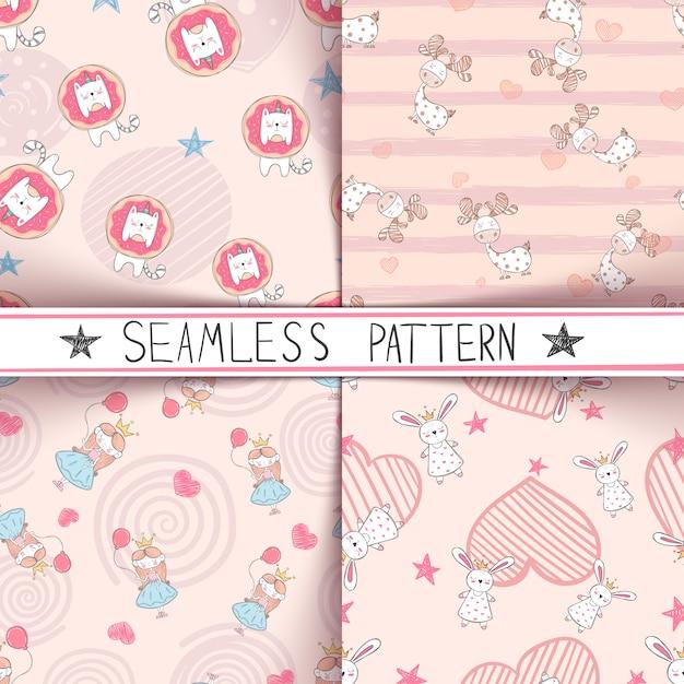 Unicorn, deer, girl rabbit seamless pattern Premium Vector